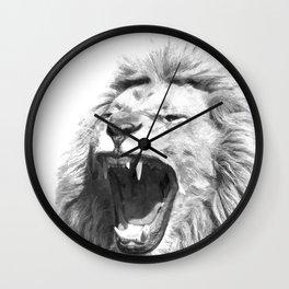 Black White Fierce Lion Wall Clock