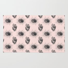 Hand and Eye of wisdom pattern- Pink & Black- Mix & Match with Simplicity of Life Rug