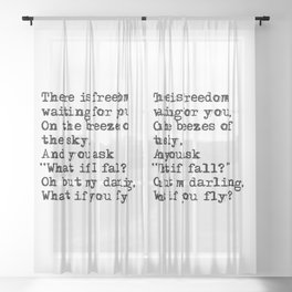 What if you fly? Vintage typewritten Sheer Curtain