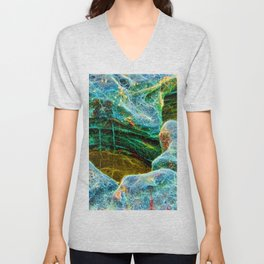Abstract rocks with barnacles and rock pool Unisex V-Neck