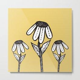 Cute Sad Drooping Hand Drawn Flowers Metal Print