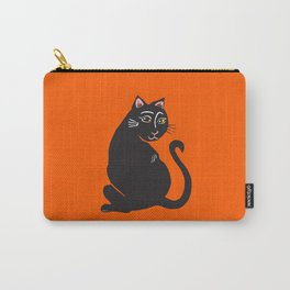 Black Cat with Orange Carry-All Pouch