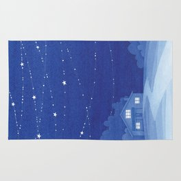Under the starry night, house, blue Rug