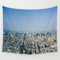 manhattan Wall Tapestries featuring Manhattan  by Anna Harding