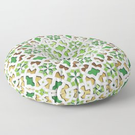 oriental pattern for Kris 3 - brown, green, white  Floor Pillow