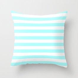 Narrow Horizontal Stripes - White and Celeste Cyan Throw Pillow