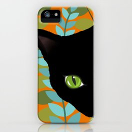 Black Kitty Cat In The Garden iPhone Case