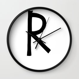 R Monogram (Hand 2) Wall Clock
