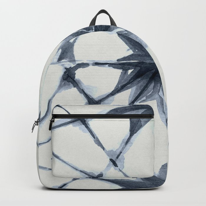 Shibori Starburst Indigo Blue on Lunar Gray Backpack