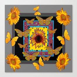 WESTERN BLACK & GREY BUTTERFLIES SUNFLOWERS Canvas Print