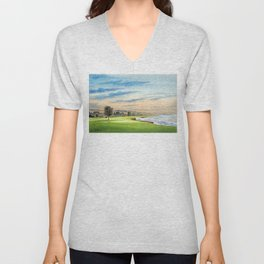Pebble Beach Golf Course 18th Hole Unisex V-Neck