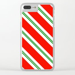 Candy Cane Stripes Holiday Pattern Clear iPhone Case