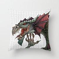 dragon Throw Pillows featuring dragon by Erdogan Ulker