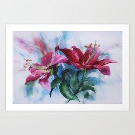 Wine Lilies In Pastel Watercolour Art Print
