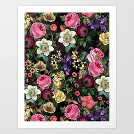 Vintage & Shabby Chic - Redouté Flower Bouquets on Black Art Print