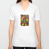 tulips V-neck T-shirts featuring Tulips  by Marjolein