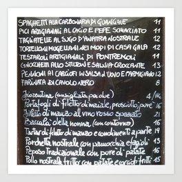 Italian menu Art Print