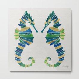 Seahorse – Watercolor & Gold Metal Print