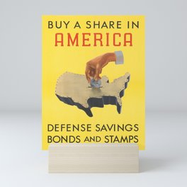 retro buy a share in america   defense savings bonds and stamps. 1941  Mini Art Print