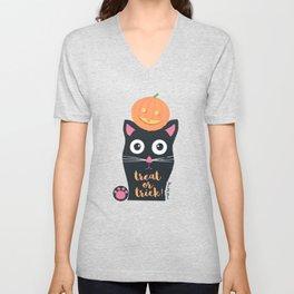 Halloween Cat Unisex V-Neck