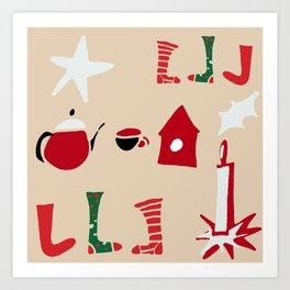 Christmas Cosy Ivory Art Print