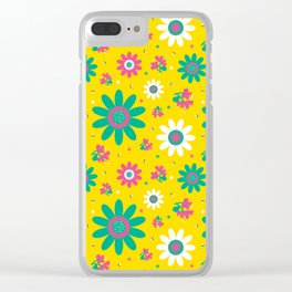 Retro Fall 60's Sunflower Floral in Yellow Clear iPhone Case