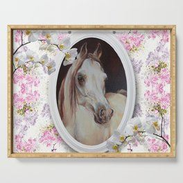 White orchids & Arabian mare Serving Tray
