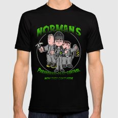 Norman's Paranormal Pest Control SMALL Black Mens Fitted Tee