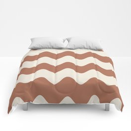 Cavern Clay SW 7701 and Creamy Off White SW7012 Wavy Horizontal Rippled Stripes Comforters