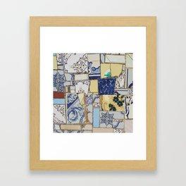 Broken ceramic tiles patchwork Framed Art Print