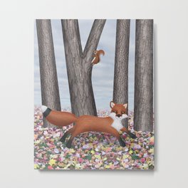 fox and squirrel Metal Print