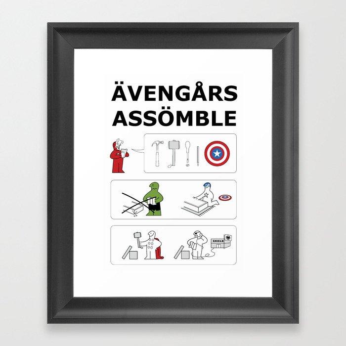Superheroes Assembling - Colour Framed Art Print