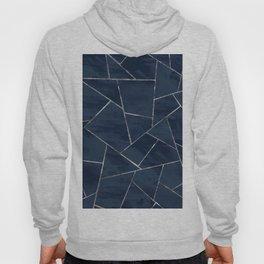 Midnight Navy Blue Ink Silver Geometric Glam #1 #geo #decor #art #society6 Hoody