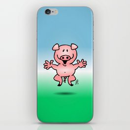 Cheerful little pig iPhone Skin