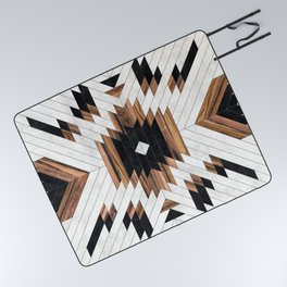 Urban Tribal Pattern No.5 - Aztec - Concrete and Wood Picnic Blanket