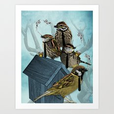 Smoking Birds Print Art Print