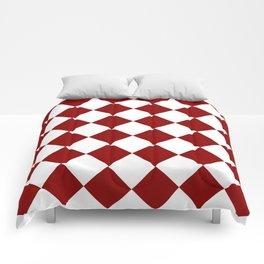 Large Diamonds - White and Dark Red Comforters