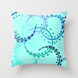 Pastel curls and circles of blue shades on the azure background. Throw Pillow