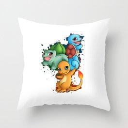 Poke' Starters - Gen 1 Throw Pillow