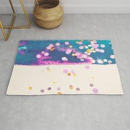 Abstract blue watercolor splash and multicolored glittering confetti Rug