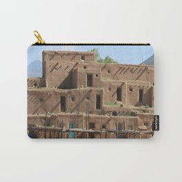 A Taos Pueblo Building Carry-All Pouch