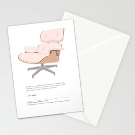 Midcentury Eames Lounge Chair - Blush Pink Art Print with Quote Stationery Cards