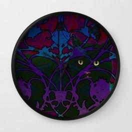 Art Nouveau Visible Cat Wall Clock