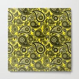 Yellow Paisley Pattern Metal Print