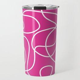 Doodle Line Art | White Lines on Hot Pink Travel Mug