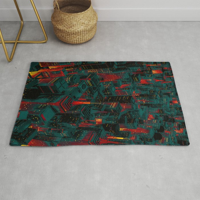Night city glow cartoon Rug