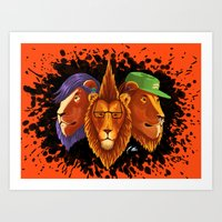 hipster lion Art Prints featuring Hipster Lion Trinity by R.Mac