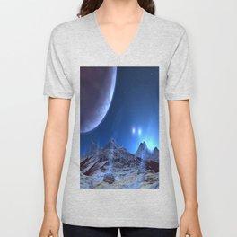 Extraterrestrial Landscape : Galaxy Planet Blue Unisex V-Neck