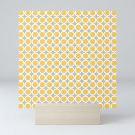 Yellow, gray and white small diamond rhombus pattern Mini Art Print