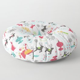Retro Santa Holiday Christmas Pattern Floor Pillow